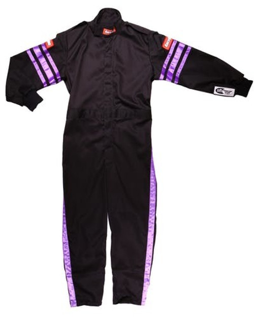 Racequip 1950593 Black Suit Single Layer Kids Medium Purple Trim