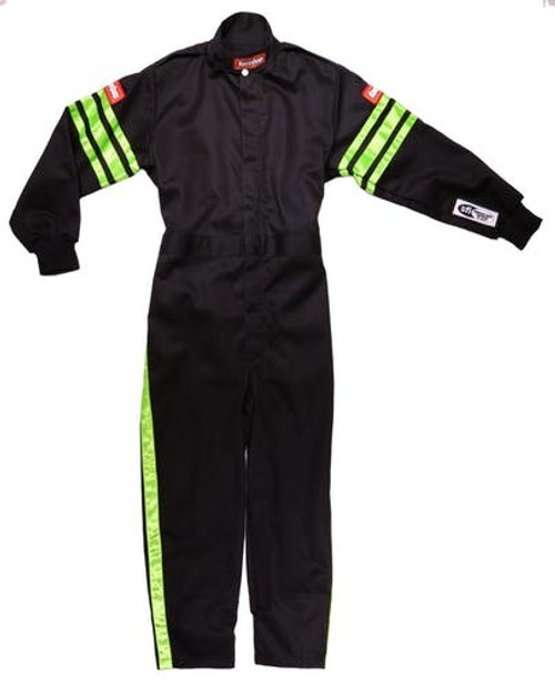 Racequip 1950793 Black Suit Single Layer Kids Medium Green Trim