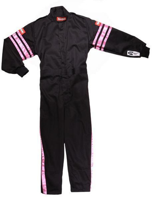 Racequip 1950892 Black Suit Single Layer Kids Small Pink Trim