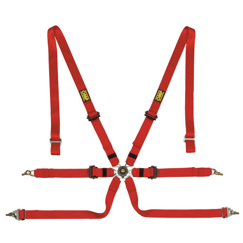 Omp Racing, Inc. DA0202HSL061 Safety Harness In Poly 6pt Red P/D Steel Adj