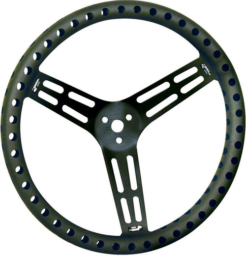 Longacre 52-56838 Steering Wheel 15in Dished Drilled Black
