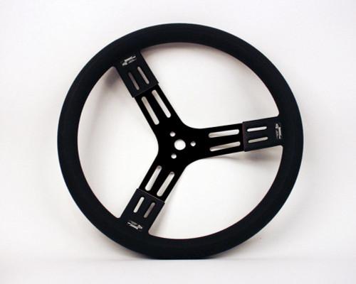 Longacre 52-56841 15in. Steering Wheel Black Steel Smooth Grip