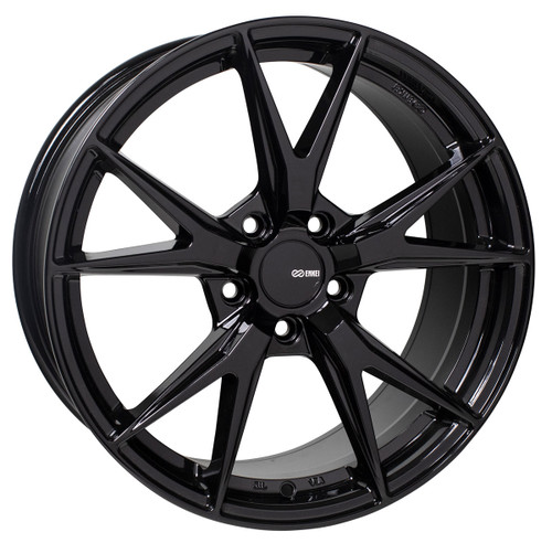 Enkei 523-880-8045BK Phoenix Gloss Black Performance Wheel 18x8 5x100 45mm Offset 72.6mm Bore
