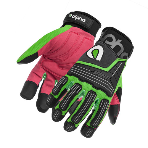 Alpha Gloves AG03-04-L VIBE Impact Flo Green Green Large