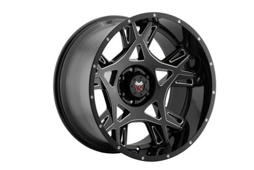 Mamba M242985125 M24 20x9 5x139.7 12mm Offset Gloss Black W/ Ball Cut Accents Wheel