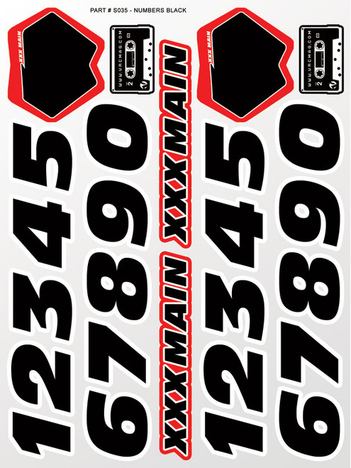 XXX Main Racing S035 Numbers Black Sticker Sheet