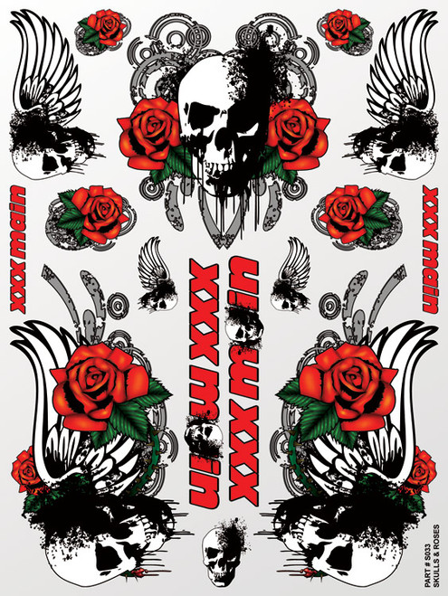 XXX Main Racing S033 Skulls & Roses Sticker Sheet