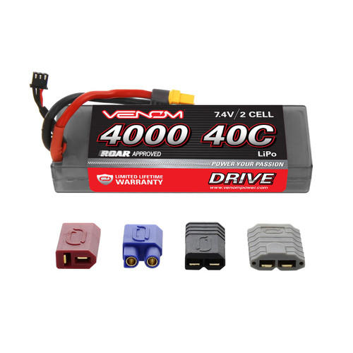 Venom Racing 15056 DRIVE 40C 2S 4000mAh 7.4V LiPo Hardcase ROAR Battery with UNI