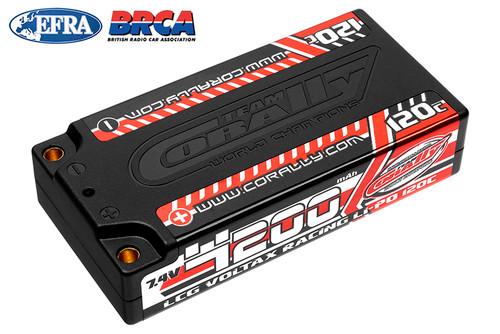 Corally 49500 Voltax 120C LiPo Battery 4200Mah 7.4V LCG Shorty 2S