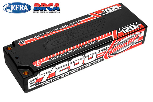 Corally 49520 Voltax 120C LiPo Battery 7200mAh 7.4V Stick 2S 4mm B