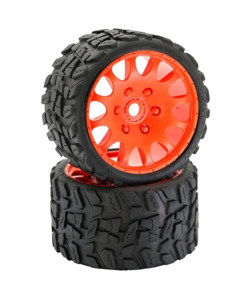 Power Hobby PHT1141SORANGE Powerhobby Raptor Belted Monster Truck Tires / Wheels w