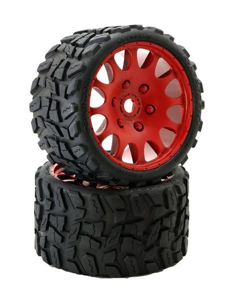 Power Hobby PHT1141SRED Powerhobby Raptor Belted Monster Truck Tires / Wheels w