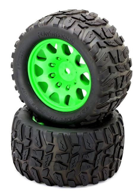 Power Hobby PHT3271GREEN Powerhobby Raptor XL Belted Tires / Viper Wheels (2)