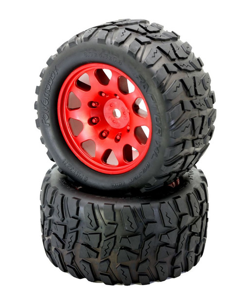Power Hobby PHT3271RED Powerhobby Raptor XL Belted Tires / Viper Wheels (2)