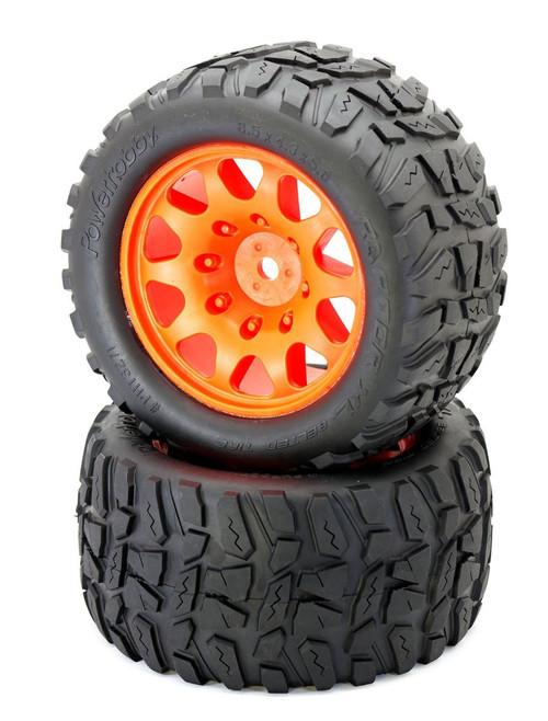 Power Hobby PHT3271ORANGE Powerhobby Raptor XL Belted Tires / Viper Wheels (2)