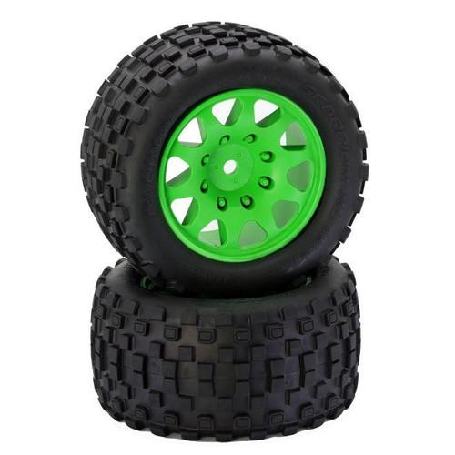Power Hobby PHT3275GREEN Powerhobby SCORPION XL Belted Tires / Viper Wheels (2)