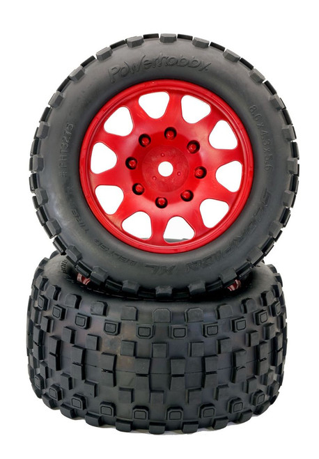 Power Hobby PHT3275RED Powerhobby SCORPION XL Belted Tires / Viper Wheels (2)