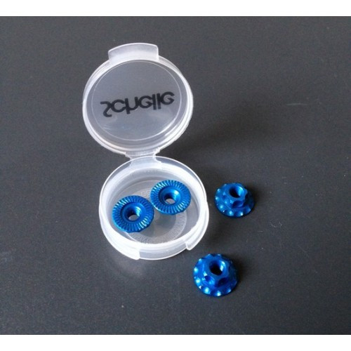 Schelle Racing -SCH1247 M4 Aluminum Serrated Flanged Wheel Nut, Blue (4pcs)