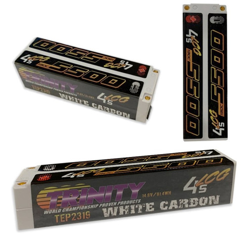 Trinity TEP2319 White Carbon 5500 LCG 14.8v 4S 1/8 E-Buggy Battery Pack w/ 5m