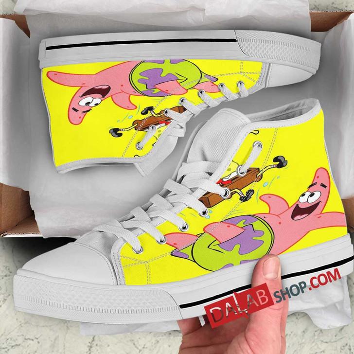 Cartoon Movies SpongeBob SquarePants V 3D Customized Personalized high top shoes