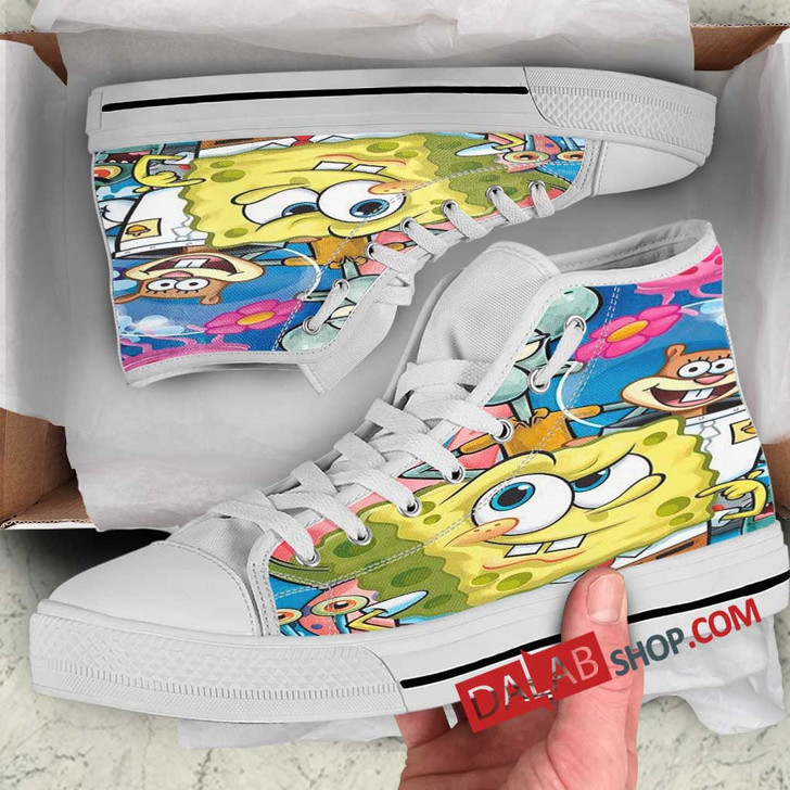 Cartoon Movies SpongeBob SquarePants D 3D Customized Personalized high top shoes