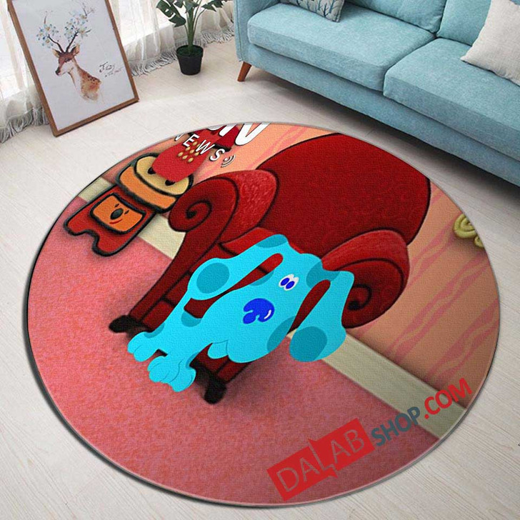 Cartoon Movies Blue's Clues N 3D Customized Personalized Round Area Rug