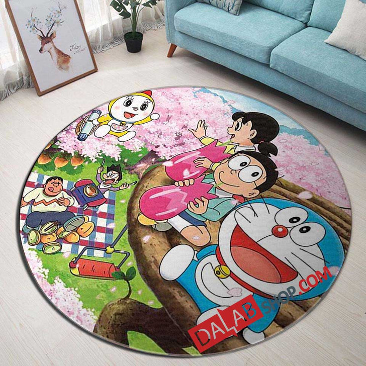 Cartoon Movies Doraemon V 3D Customized Personalized Round Area Rug