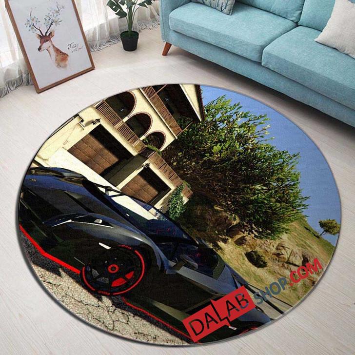 Super Car Lamborghini Veneno Roadster v 3D Customized Personalized Round Area Rug