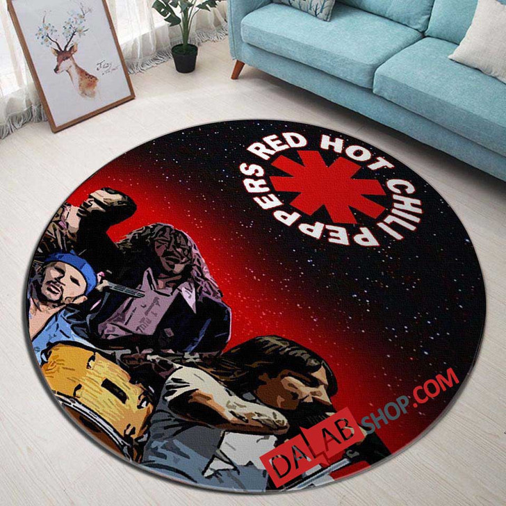 Musical Artists '80s Red Hot Chili Peppers 2D 3D Customized Personalized Round Area Rug