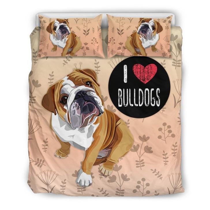 I Love Bulldogs Bedding Set for Bulldog Lovers