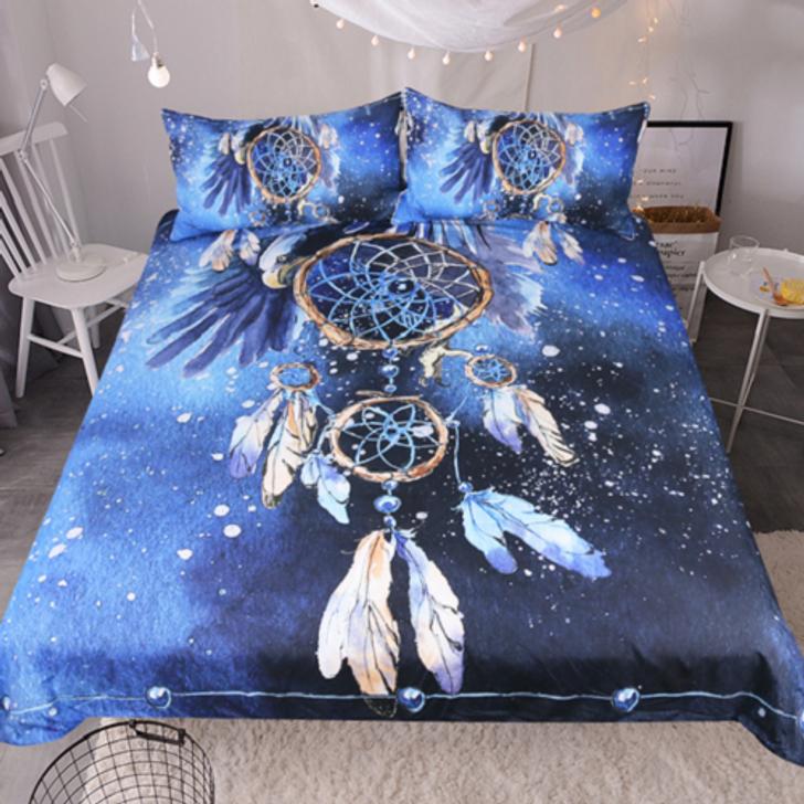 Feather Blue Dream Catcher Bedset