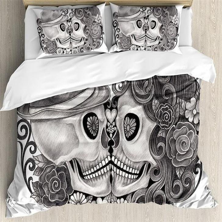 3D Sugar Skull Couple in Love Bedding Set
