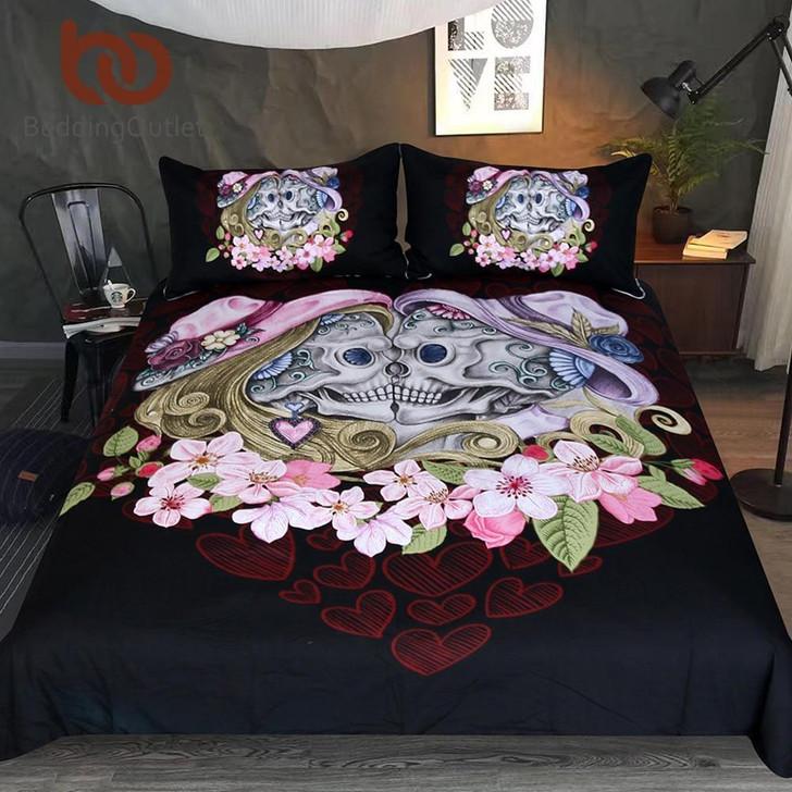 Skull Couples Bedding Set