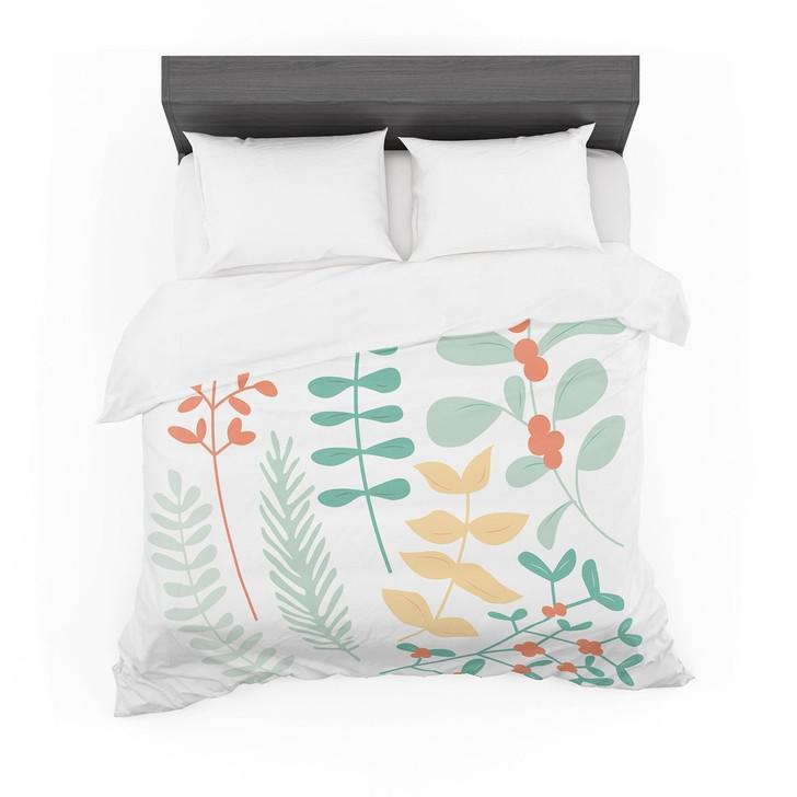 """Deck the Hollies Orange"" Teal Featherweight3D Customize Bedding Set Duvet Cover SetBedroom Set Bedlinen"