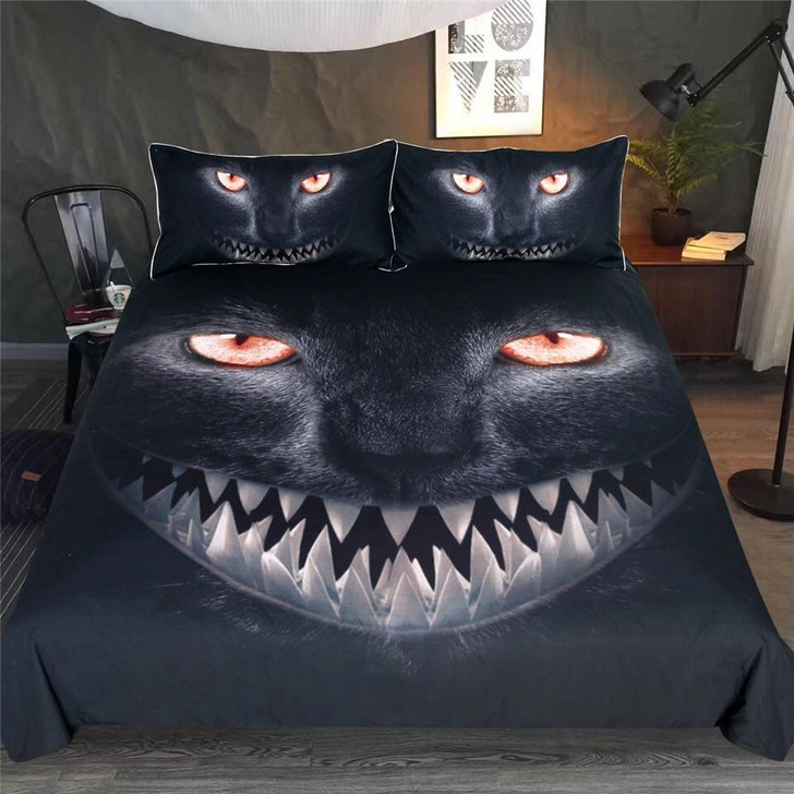 Fanged Cat 3D Customize Bedding Set Duvet Cover SetBedroom Set Bedlinen