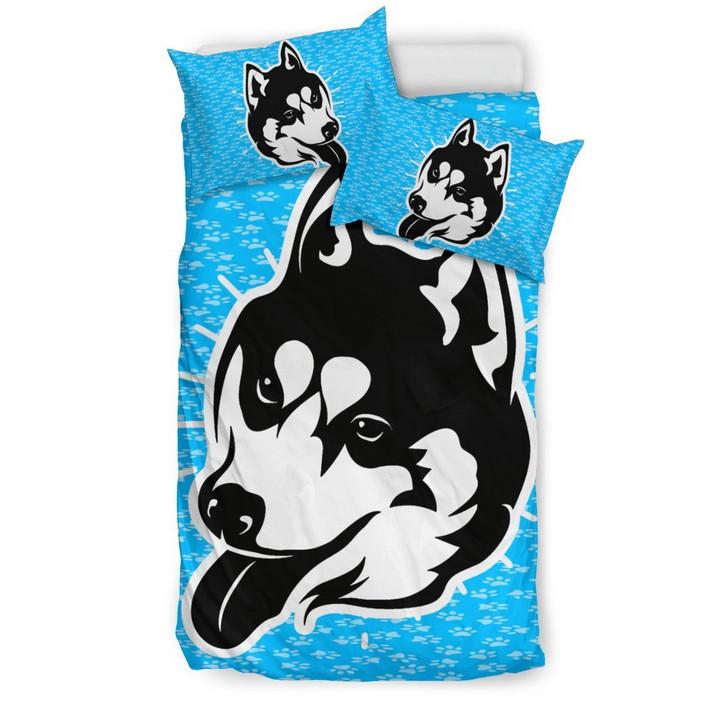 Husky Dog Paw 3D Customize Bedding Set Duvet Cover SetBedroom Set Bedlinen