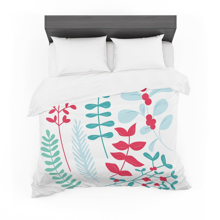 """Deck the Hollies Red"" Teal Featherweight3D Customize Bedding Set/ Duvet Cover Set/  Bedroom Set/ Bedlinen"