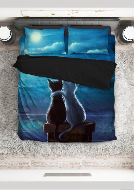 Cat couple under the moonlight  3D Customize Bedding Set/ Duvet Cover Set/  Bedroom Set/ Bedlinen