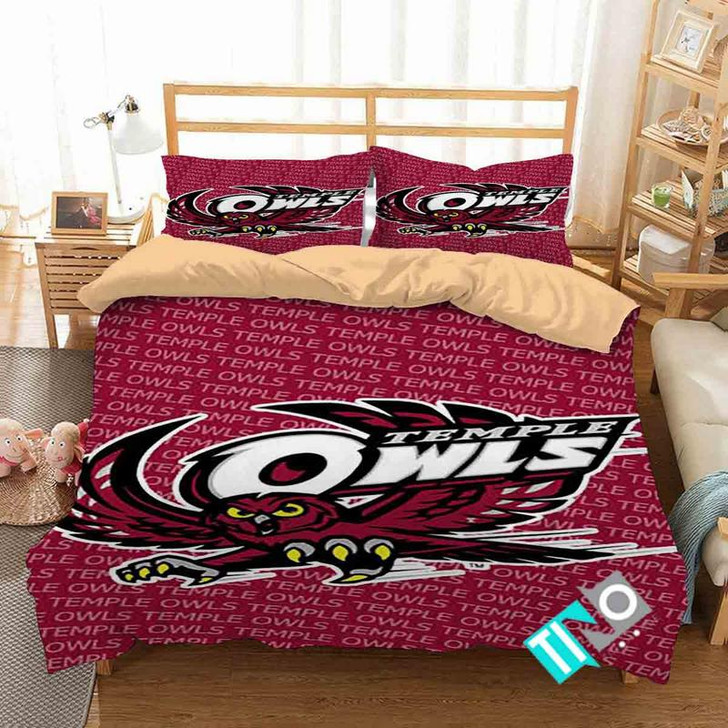 NCAA Temple Owls 2 Logo D 3D Personalized Customized Bedding Sets Duvet Cover Bedroom Set Bedset Bedlinen