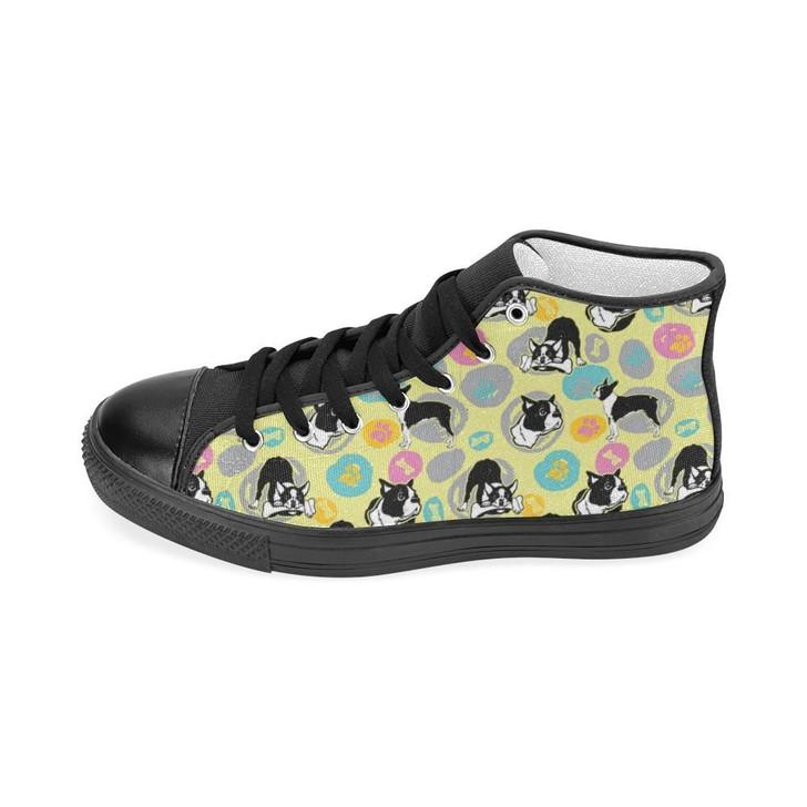 Boston Terrier Pattern Black Women'S Classic High Top Canvas Shoes