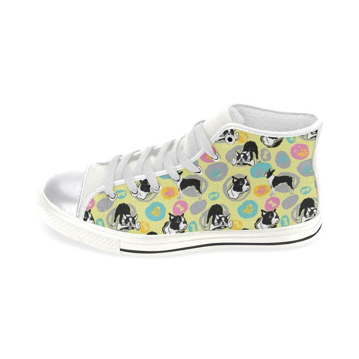 Boston Terrier Pattern White Women'S Classic High Top Canvas Shoes