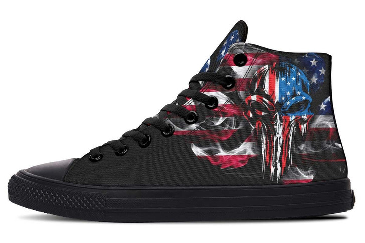Flag And Skull High Top Vans Shoes