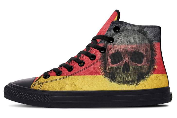 German Flag Skull High Top Vans Shoes