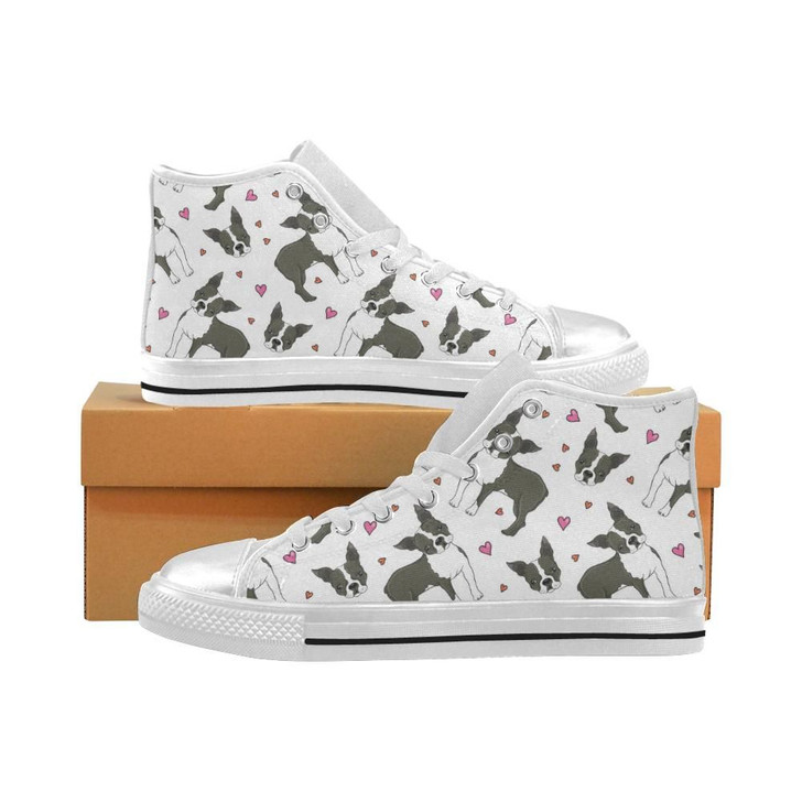 Boston Terrier Dog Hearts Vector Pattern Women'S High Top Shoes White