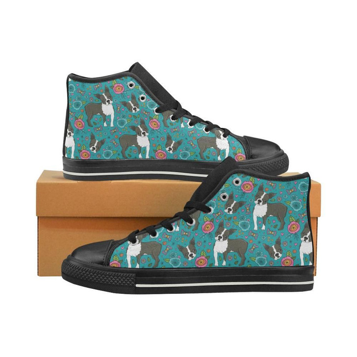 Boston Terrier Beautiful Flower Pattern Women'S High Top Shoes Black