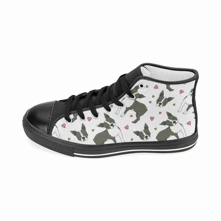 Boston Terrier Dog Hearts Vector Pattern Women'S High Top Shoes Black