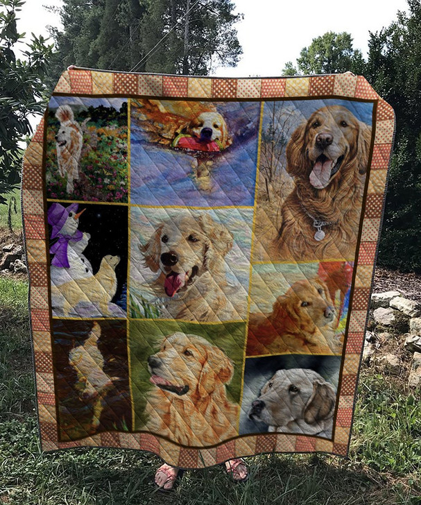Golden Retriever Dog Quilt On Sale! Design By Dalabshop.com