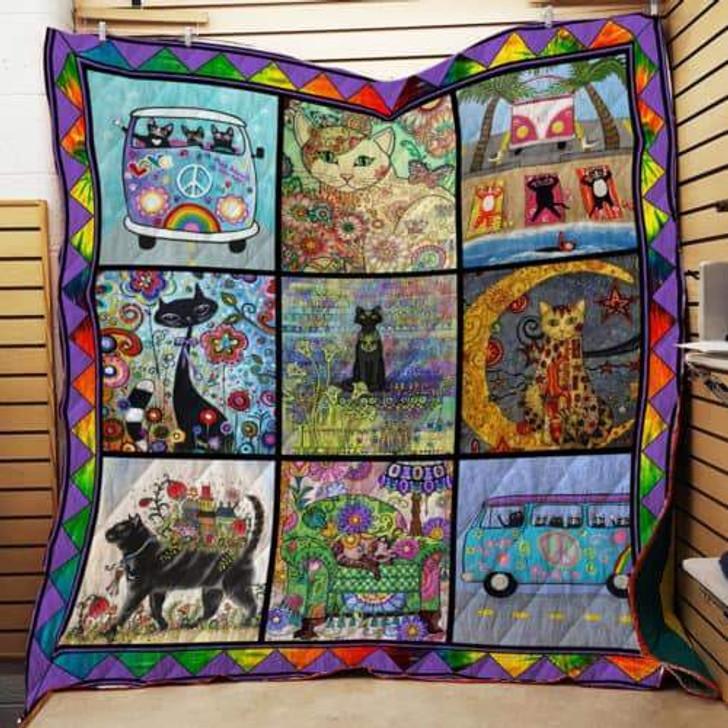 Hippie Cat Quilt Quilt On Sale! Design By Dalabshop.com