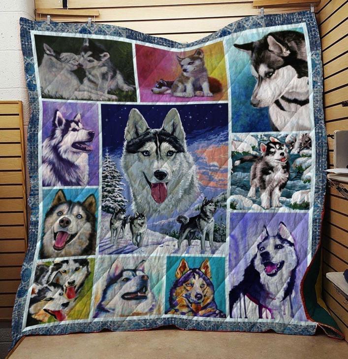 Husky Dog Quilt Blanket 1 on Sale Now Design By Dalabshop.com