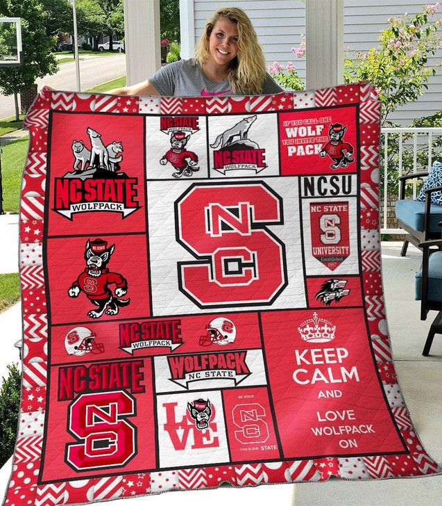 NCAA NC State Wolfpack 3D Customized Personalized Quilt Blanket #1634 Design By Dalabshop.com